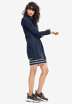 Long Zip Front Hoodie by ellos®, NAVY