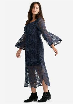 Florence Lace Midi Dress, NAVY BLACK LACE