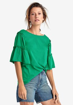 Ruffle Bell Sleeve Top by ellos®,