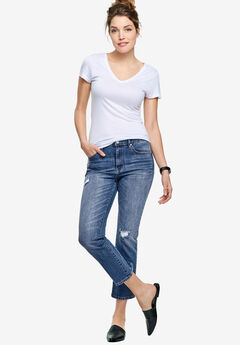 Cropped Slim Jeans by ellos®, MEDIUM SANDED DISTRESSED