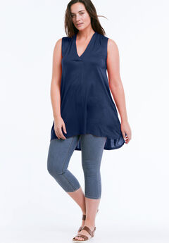 Crossover V-Neck Sleeveless Tunic by ellos®,