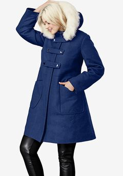 Faux Fur Trim Wool-Blend Coat,