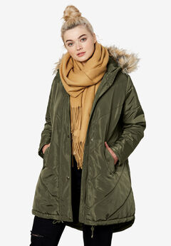 Faux Fur Hooded Parka by ellos®, DARK OLIVE GREEN