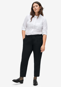 Cropped Pleat-Front Trousers, BLACK