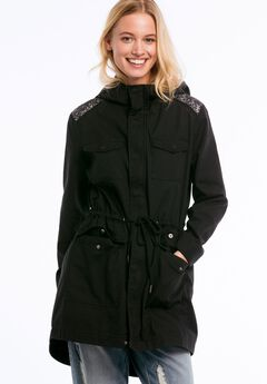 Hooded Sequin Shoulder Trim Twill Anorak by ellos®,
