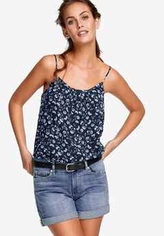 Pleat-Front Tank by ellos®, NAVY FLORAL PRINT