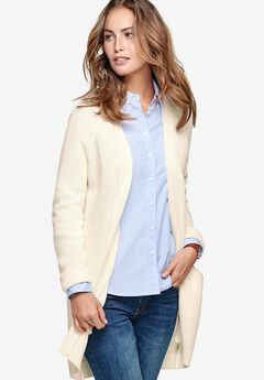 Ribbed Open Cardigan Sweater by ellos®,