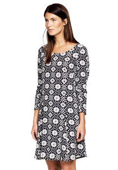 Printed Long Sleeve A-line Dress by ellos®, BLACK GREY PRINT