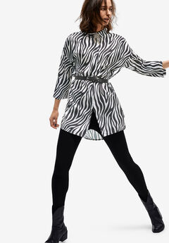 Button-Front Animal Print Tunic by ellos®, ZEBRA PRINT