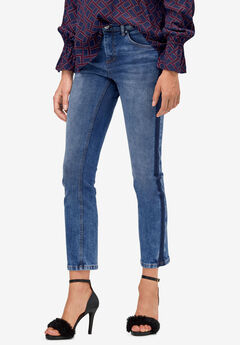 Contrast Side Stripe Crop Slim Jeans by ellos®,