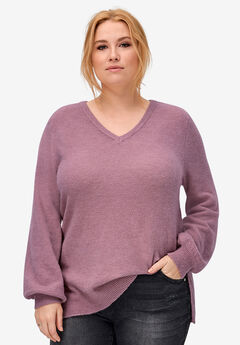 Blouson Sleeve Sweater by ellos®, DUSTY PINK MARLED
