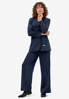 Pinstripe Wide-leg Soft Pants by ellos®,