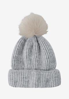 Rib Knit Pom-Pom Hat,