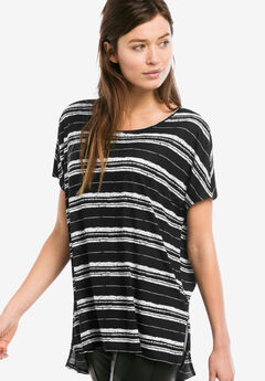 Boxy Dolman Sleeve Tunic by ellos®, BLACK WHITE STRIPE