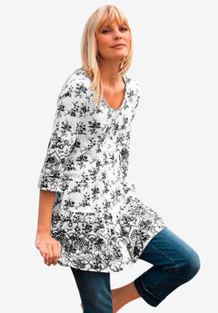 Tiered Floral 3/4 Sleeve Tunic,