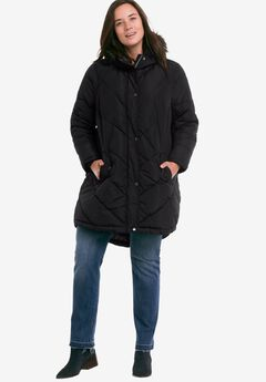 Faux Fur Hooded Parka by ellos®, BLACK