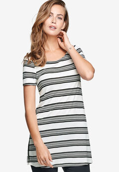 Keyhole Back Tunic by ellos®, WHITE BLACK STRIPE