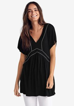 Embroidered Trim Tunic by ellos®,