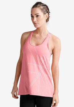 Racer-Back Graphic Tank by ellos®, FLAMINGO PINK