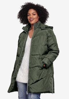 Long Puffer Coat by ellos®, DEEP OLIVE