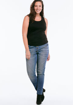 Button Fly Girlfriend Jeans by ellos®, MEDIUM SANDED