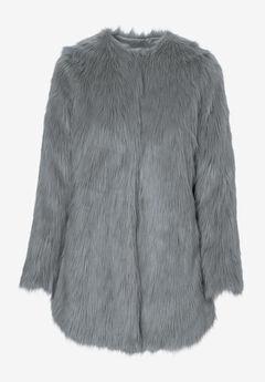 Faux Fur Snap Front Coat,
