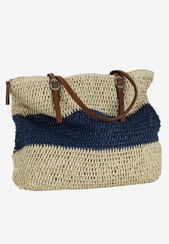 Zip Top Straw Bag by ellos®,