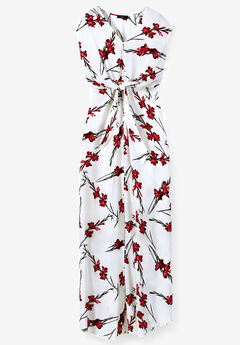 Tie-Front Maxi Dress by ellos®, WHITE RED PRINT