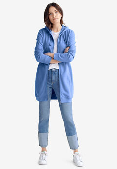 Long Zip Front Hoodie by ellos®, CORNFLOWER BLUE
