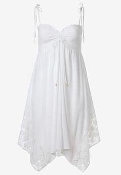 Handkerchief Hem Dress by ellos®, WHITE