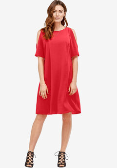 Cold-Shoulder Dress by ellos®, CORAL RED