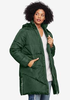 Long Puffer Coat, MIDNIGHT GREEN