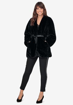 Tie-Front Faux-Fur Coat by ellos®,