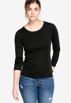 Three-Quarter Sleeve Scoop Neck Tee by ellos®,