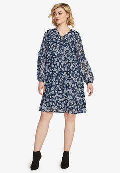 Ruffle Trim Dress by ellos®, NAVY FLORAL PRINT