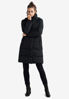 Long Hooded Puffer by ellos®, BLACK