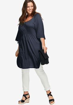 Smocked Waist Knit Tunic by ellos®,