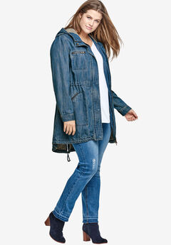 Hooded Anorak Denim Jacket,