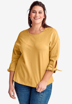 Tie-Sleeve Sweatshirt by ellos®, HONEY