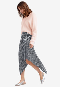 Mixed-Print Asymmetrical Skirt, BLACK WHITE PRINT