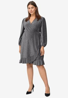 Glitter Knit Wrap Dress,