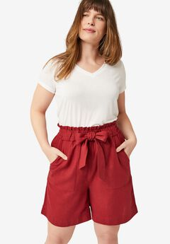 Belted Linen Shorts,
