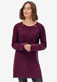 Button-Trim Sweater Tunic by ellos®,