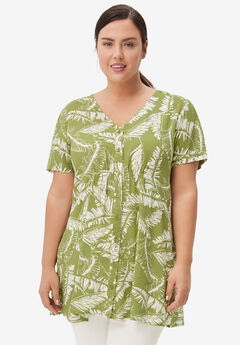 V-Neck Button-Front Tunic,