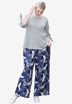 Wide-Leg Soft Pants by ellos®, NAVY BIRD PRINT