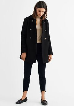 Gold Button A-line Wool-Blend Coat by ellos®,