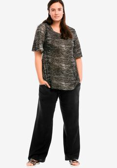 Linen Blend Wide Leg Pants by ellos®, BLACK