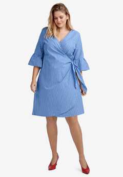 Bell-Sleeve Wrap Dress by ellos®, ULTRAMARINE WHITE STRIPE