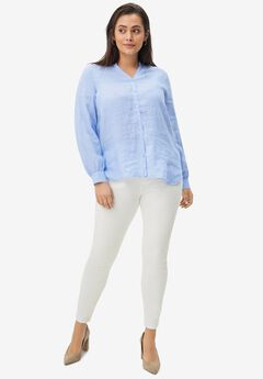 Linen Blend Button-Front Shirt,