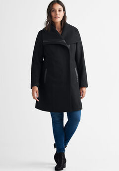 Wool-Blend Asymmetrical Zip Coat by ellos®,